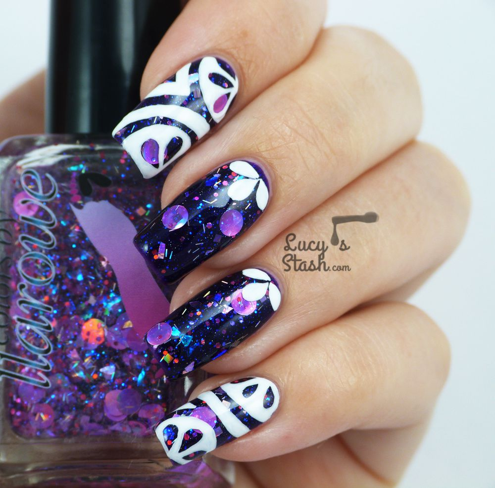 Abstract Nail Art over Colors by Llarowe I Need A Holo-Day and Purple Rain