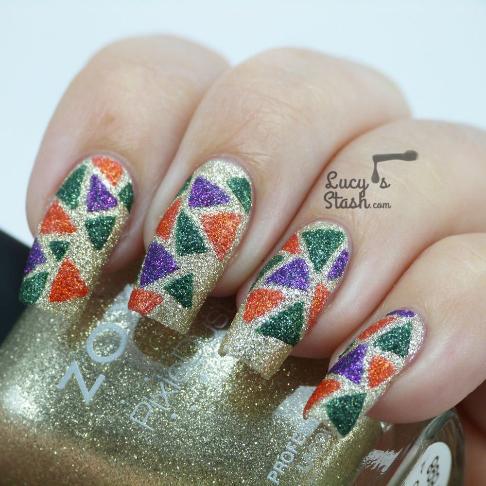 Triangle Mosaic Nail Art Design with Zoya PixieDusts