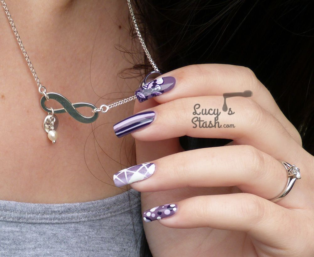 Purple Harmony Nail Art and Initial Infinity Necklace