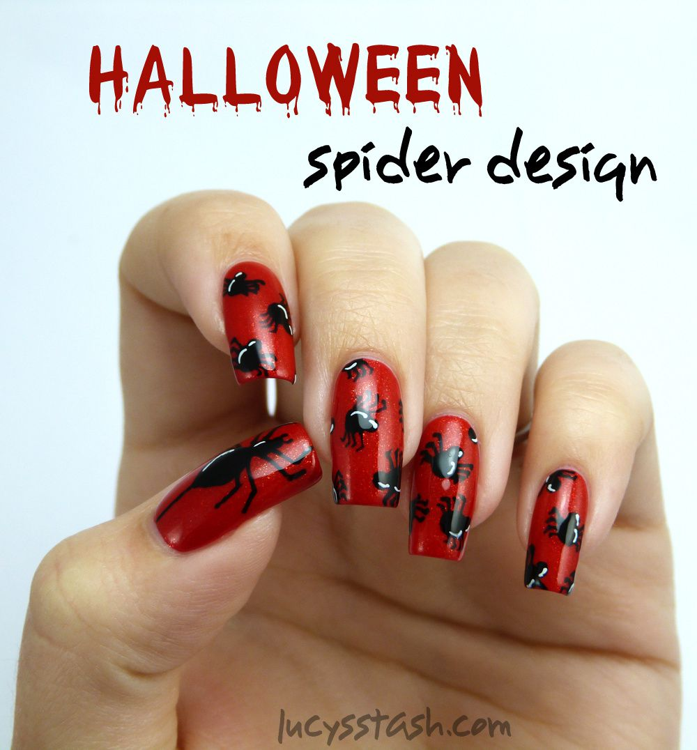 piCture pOlish Monday: Halloween Spiders Nail Art over piCture pOlish Vegas