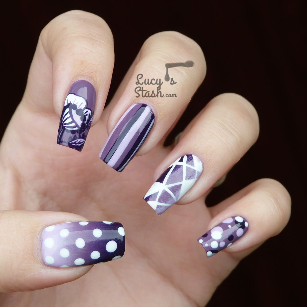 Purple Harmony Nail Art and Initial Infinity Necklace  Lucy39;s Stash