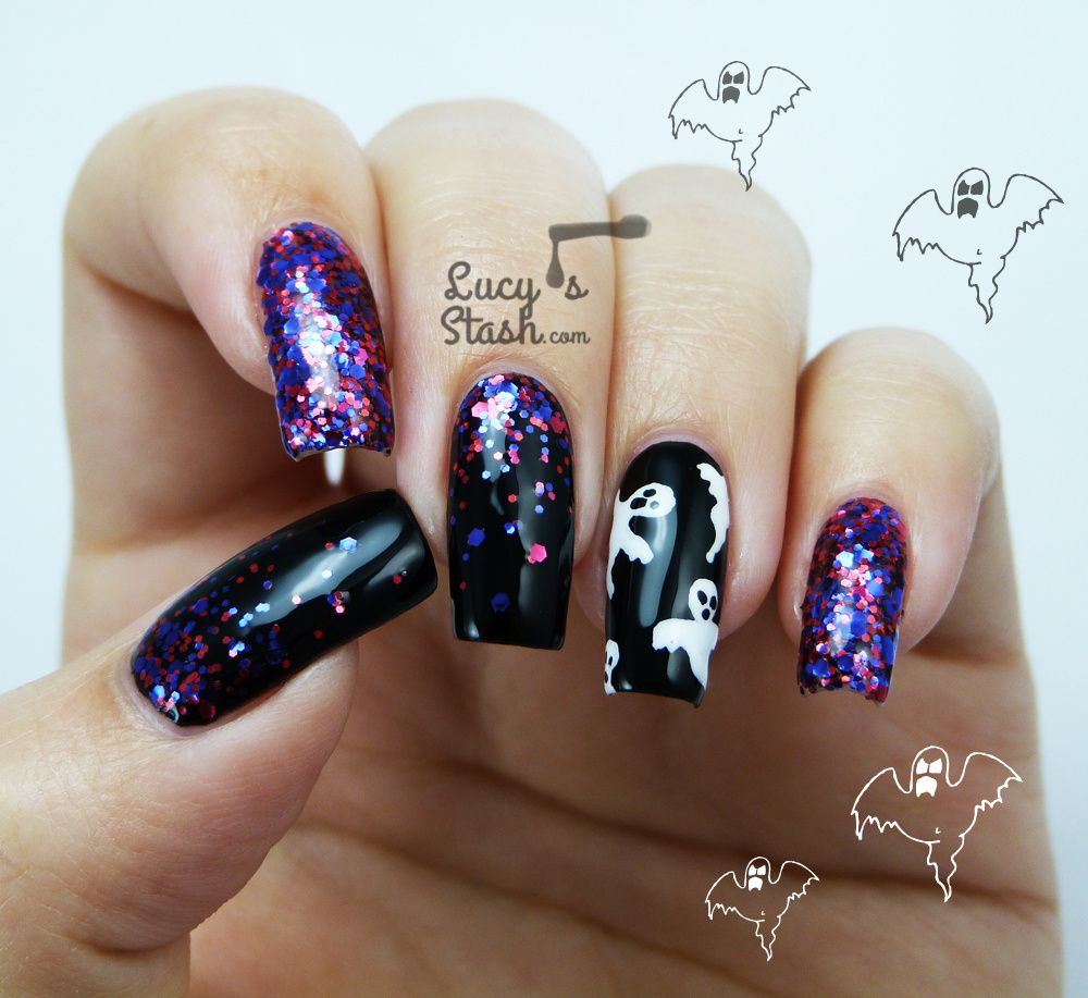 Halloween Ghosts &amp&#x3B; Glitter Gradient Nail Art