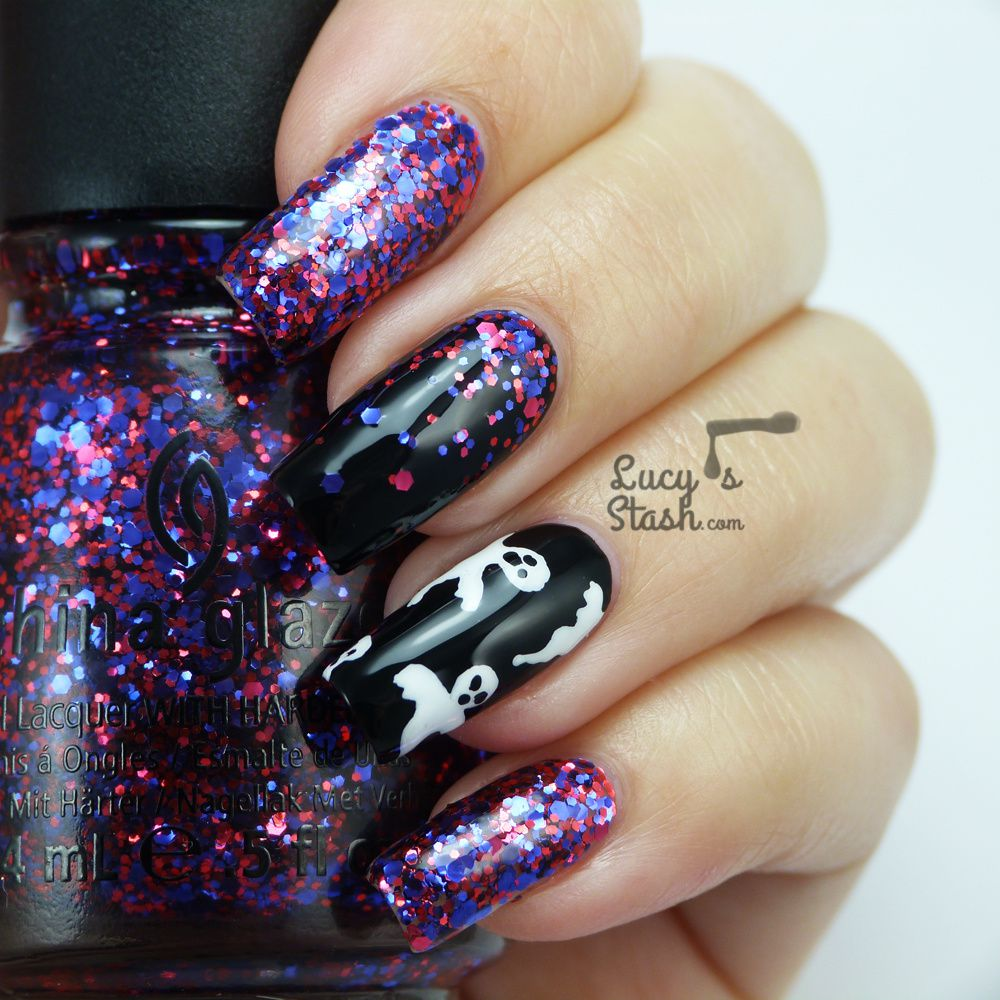 Halloween Ghosts & Glitter Gradient Nail Art - Lucy's Stash