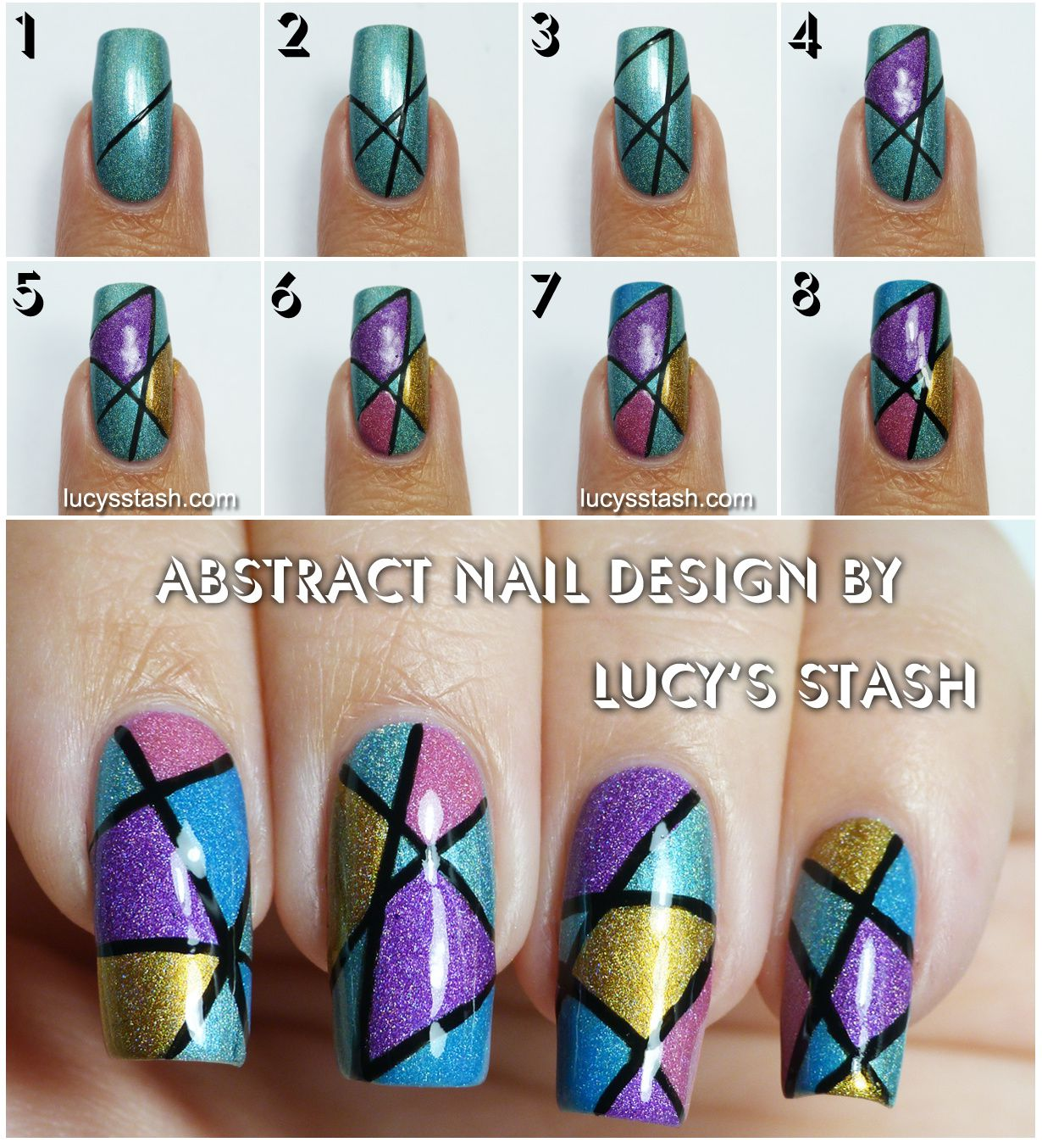 Line Art Design Tutorial : Abstract holo nail art design with tutorial lucy s stash