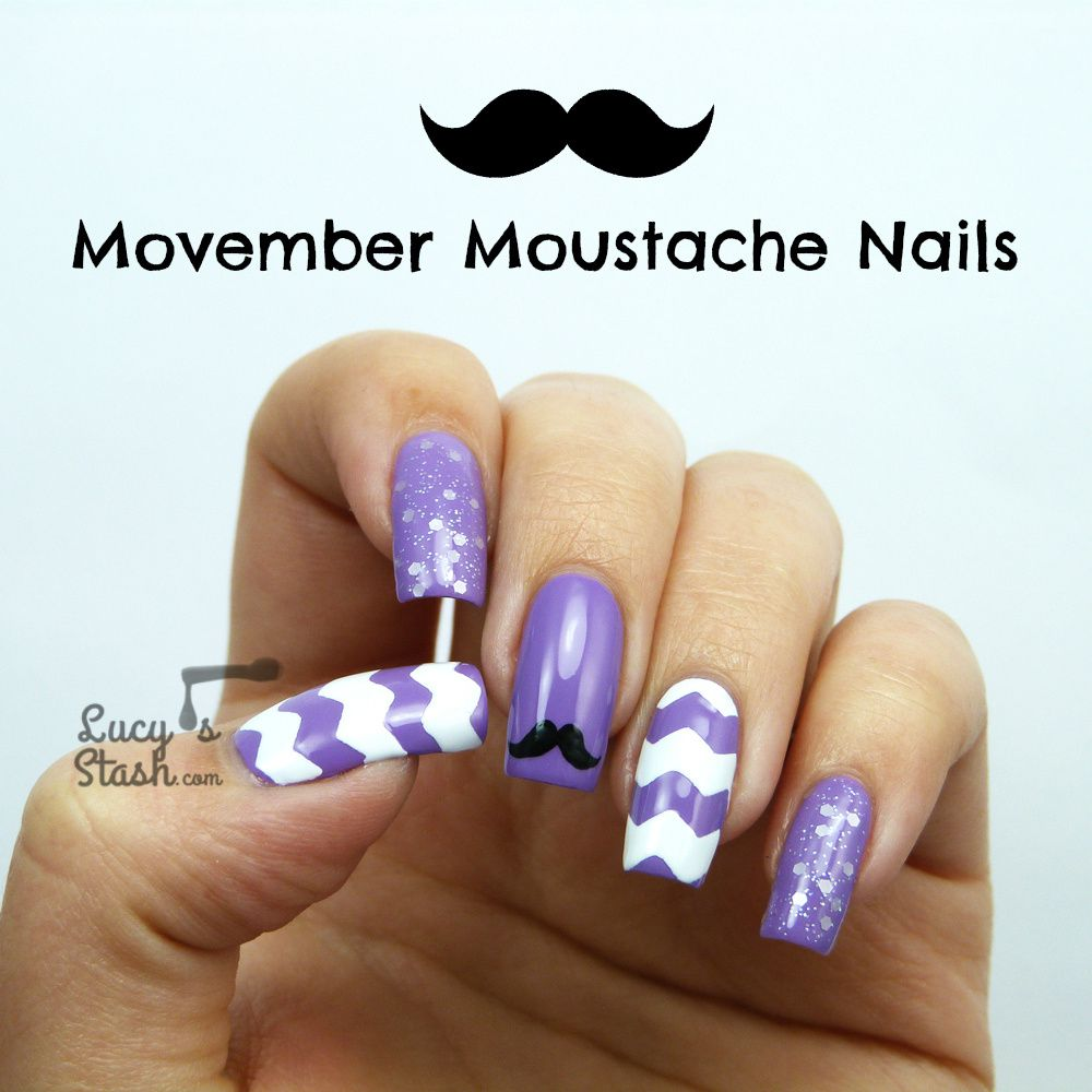 Movember Moustache Nail Art
