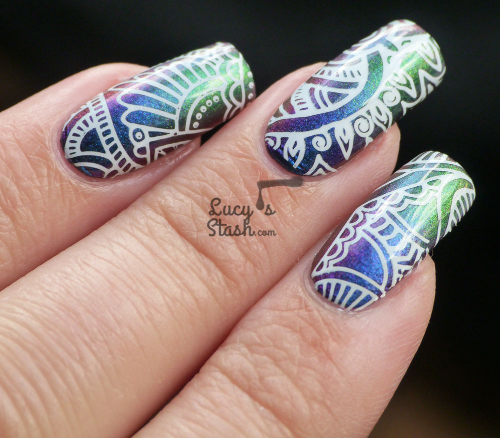White Mehndi Stamping Nail Art Over Multichrome Gradient