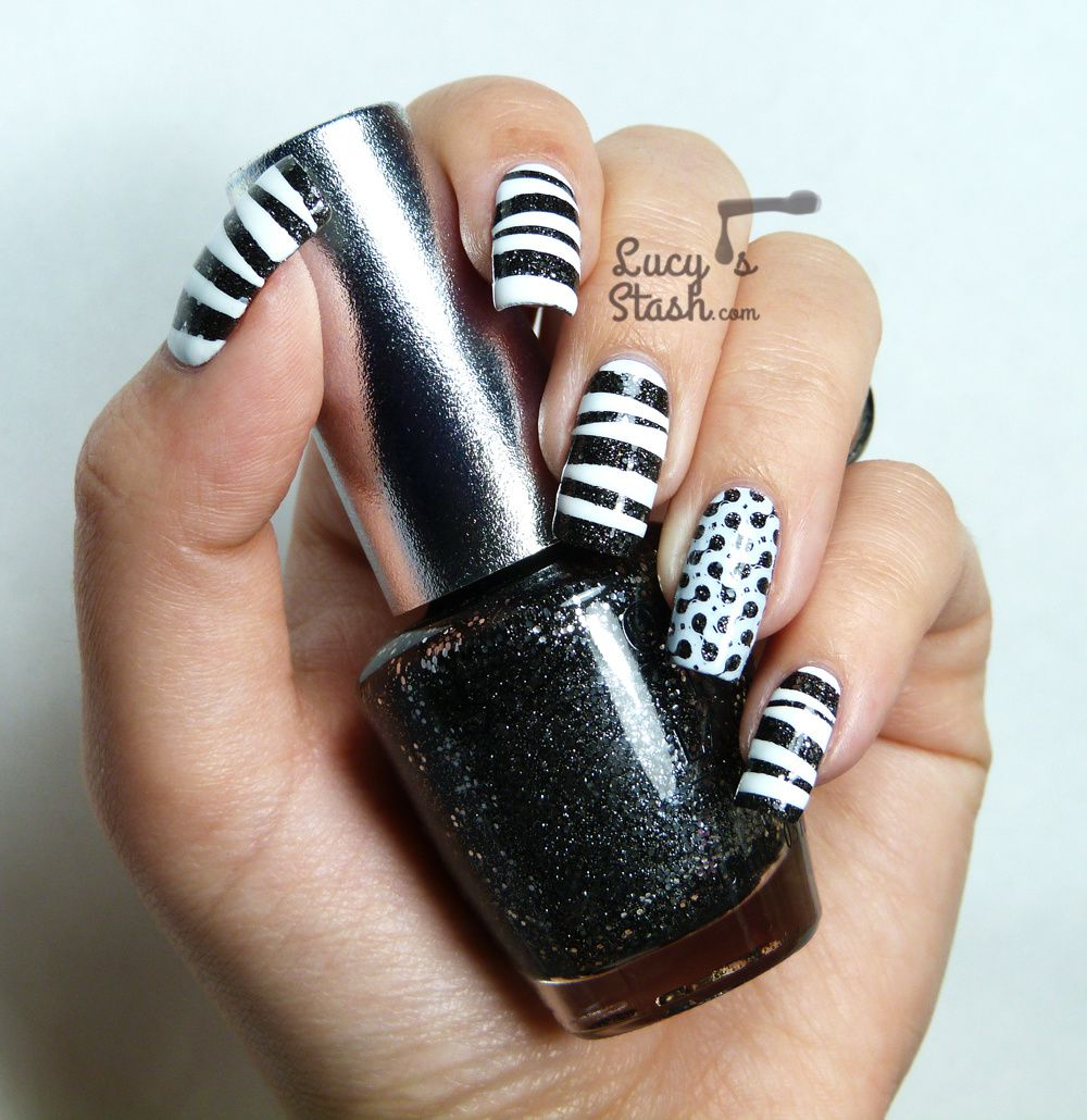 Tape Stamp Monochrome Nail Art WithTutorial