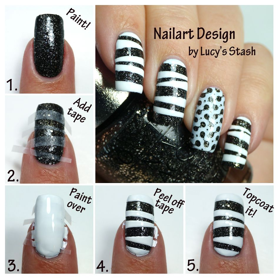 Tape Amp Stamp Monochrome Nail Art WithTutorial