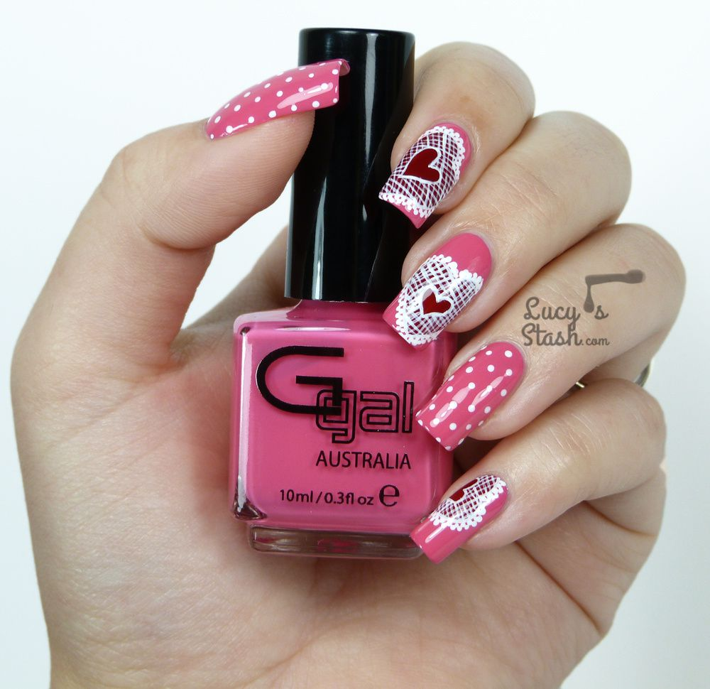 Lace Hearts Nail Art - Valentine's Day Design