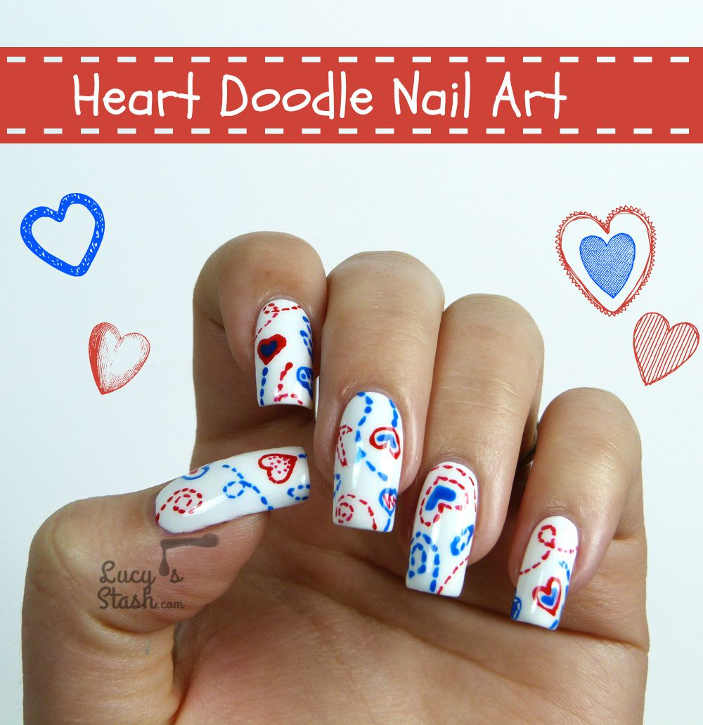 Doodle Nail Art with TUTORIAL - Valentine's Day Nail Design