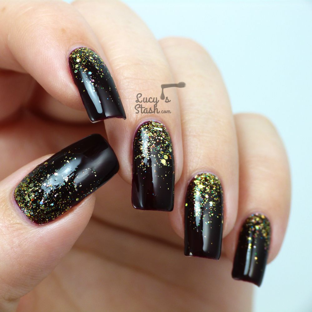 Gold glitter gradient nail art with video tutorial lucys stash gold glitter gradient nail art prinsesfo Gallery