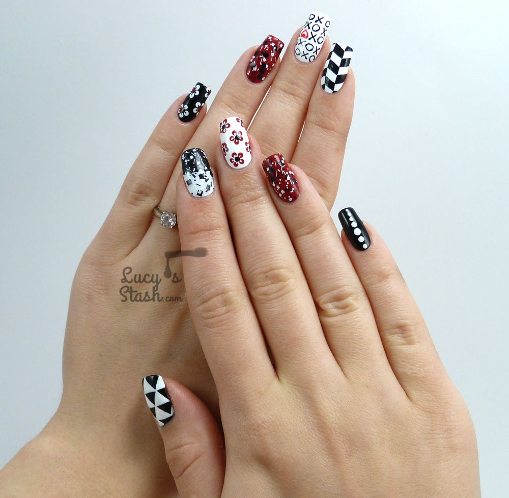Mix & Match Red, Black & White Nail Art Design - Mix & Match Red, Black & White Nail Art Design - Lucy's Stash