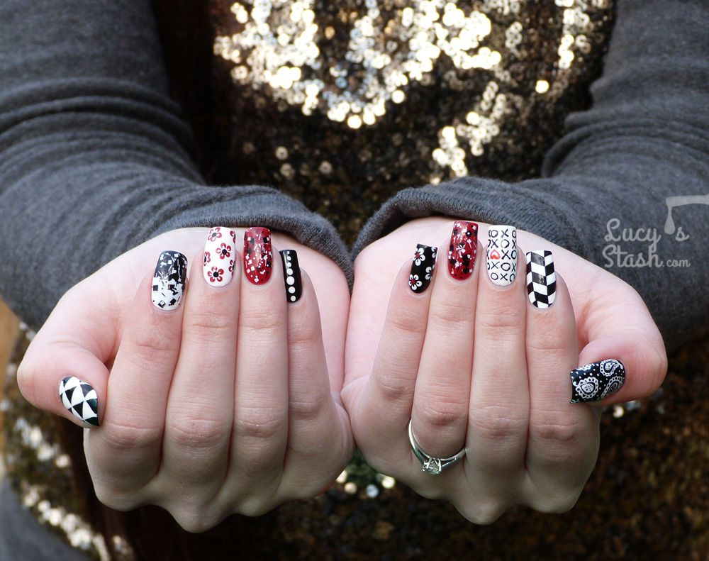 Mix & Match Red, Black & White Nail Art Design - Lucy\'s Stash