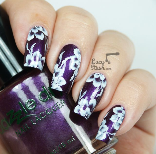 One Colour One Stroke Floral Nail Art With Tutorial Lucys Stash
