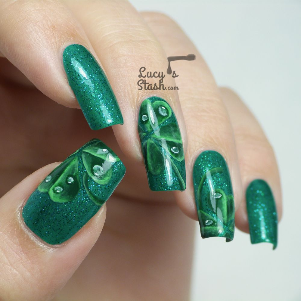 Four-Leaf Clover Nail Art for St. Patrick\'s Day | Lucy\'s Stash ...