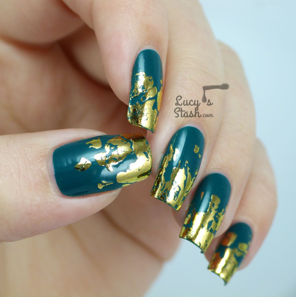 Distressed Gold Nail Foil Design with TUTORIAL - Lucy\'s Stash