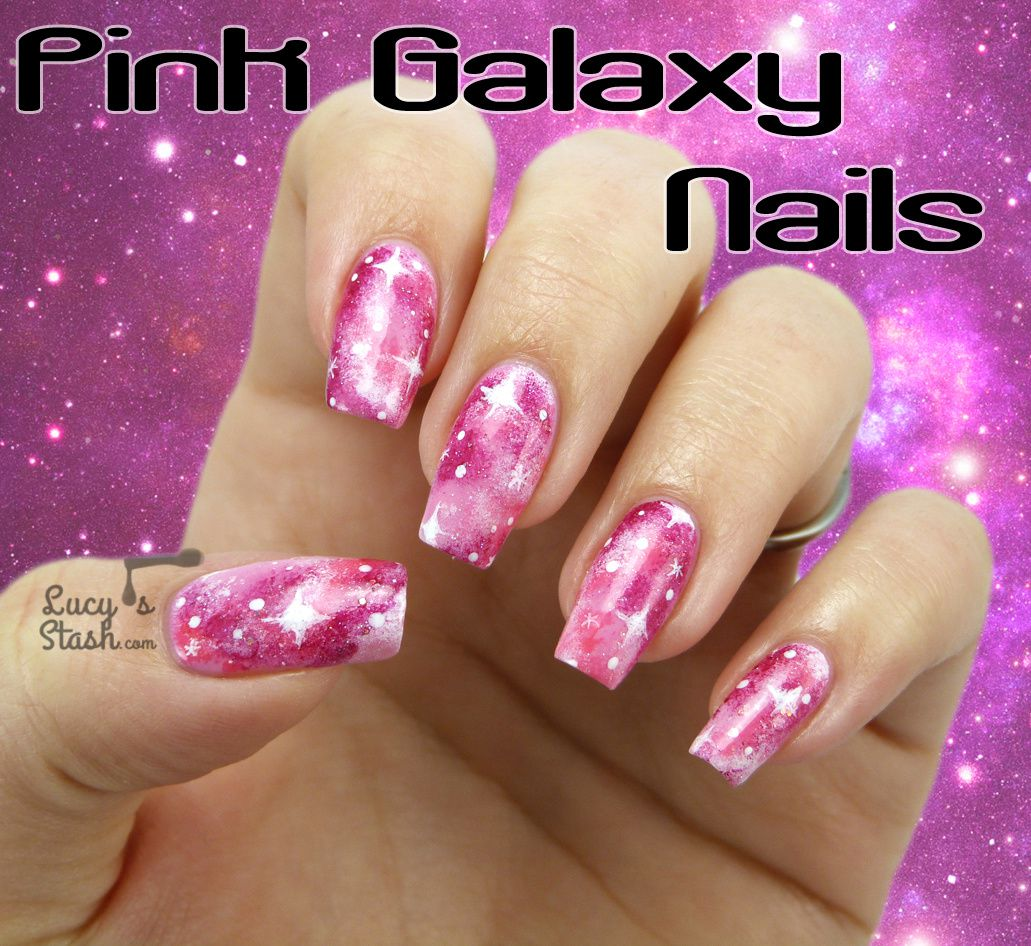Pink Galaxy Nails with TUTORIAL - Lucy\'s Stash