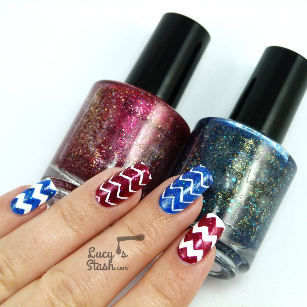 Zig-Zag Madness Nail Art with Renaissance Cosmetics and Stick Me Nails stickers