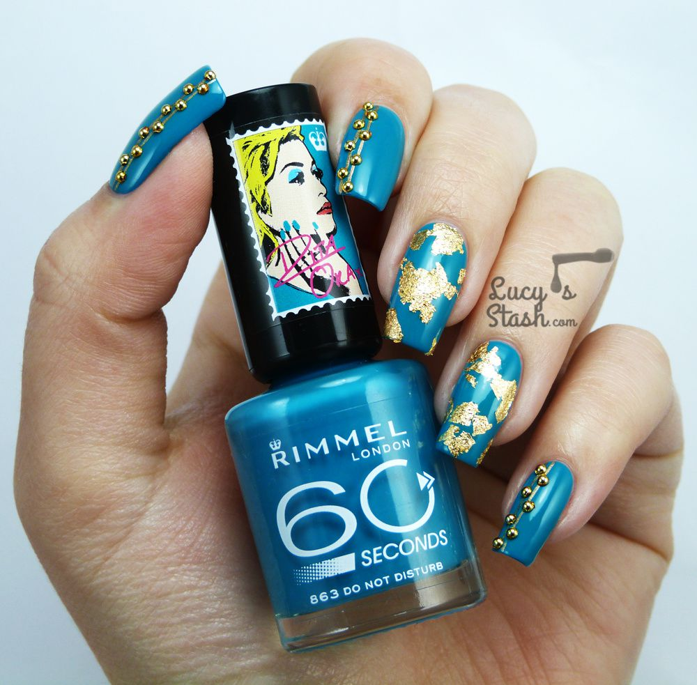 Teal &amp&#x3B; Gold Nail Art with Rimmel London