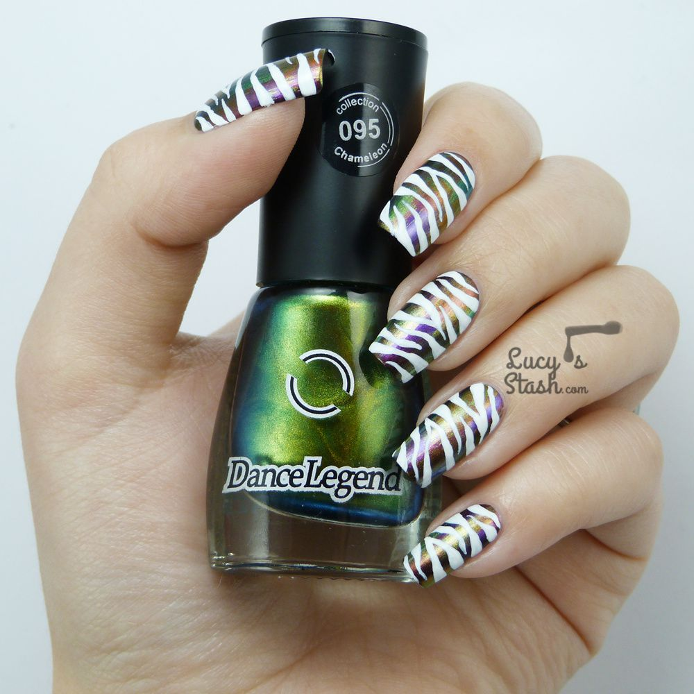 Jewel &amp&#x3B; White Zebra Print Nail Art feat. Dance Legend Chameleon collection