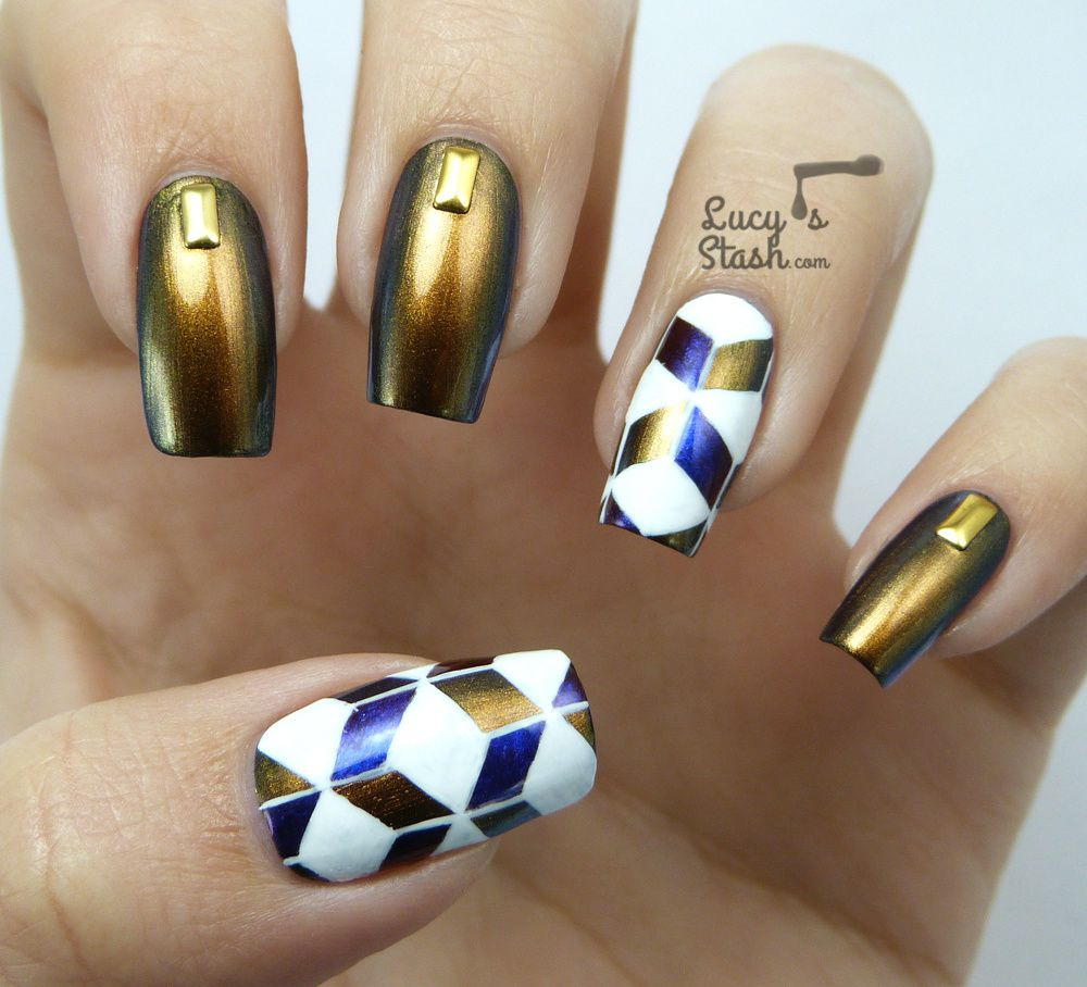 Cube Pattern Nail Art feat. Dance Legend Knight
