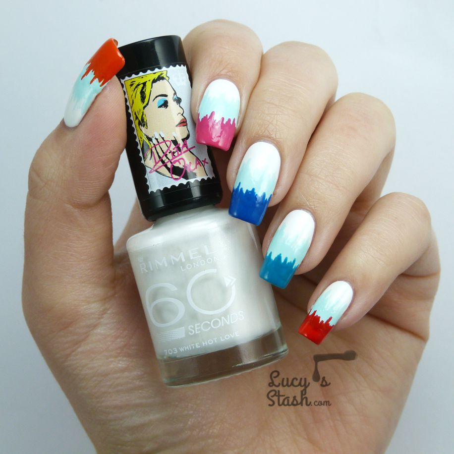 Easter Colour Block Ikat Pattern Nail Art with Rimmel London