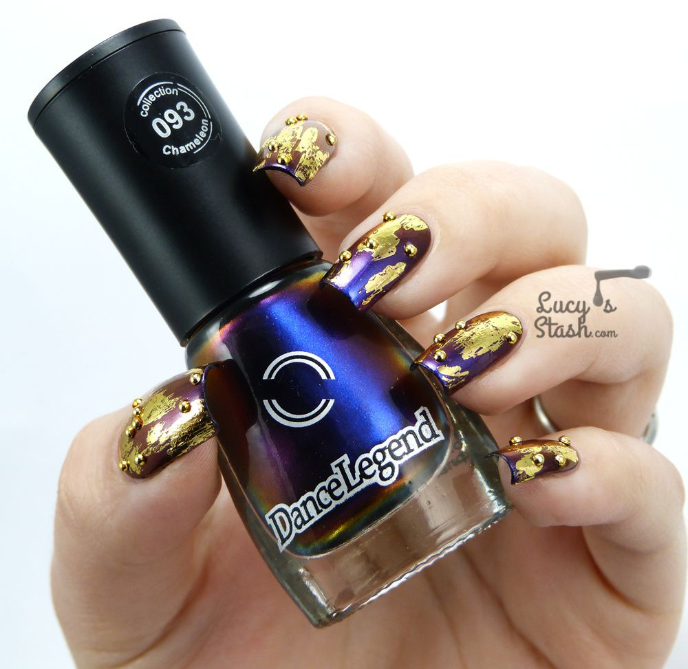 Duochrome &amp&#x3B; Gold Patching Nail Art