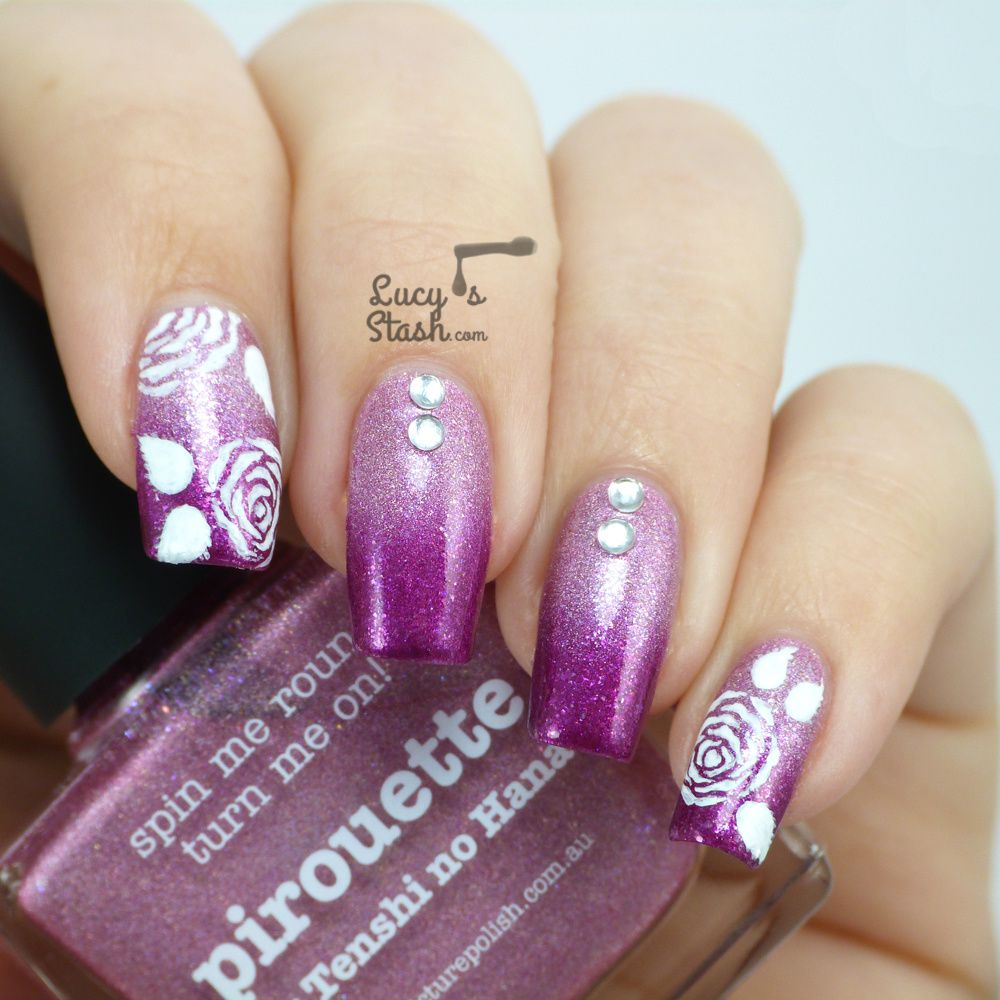 piCture pOlish Monday: Gradient &amp&#x3B; Roses Nail Art Design