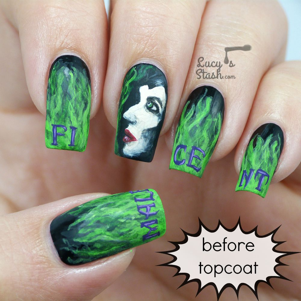 Maleficent nail art manicure with picture TUTORIAL - Lucy\'s Stash
