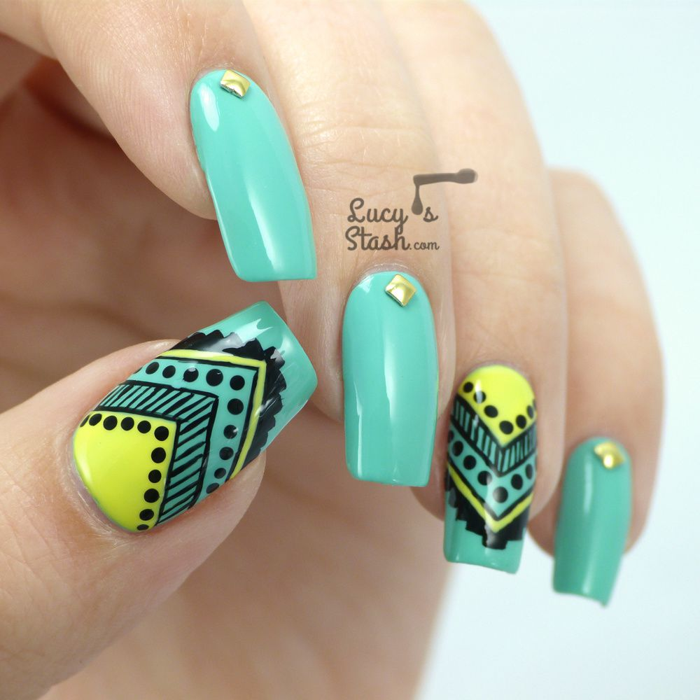 Aztec nail art feat graffiti nails lucys stash aztec nail art feat prinsesfo Images