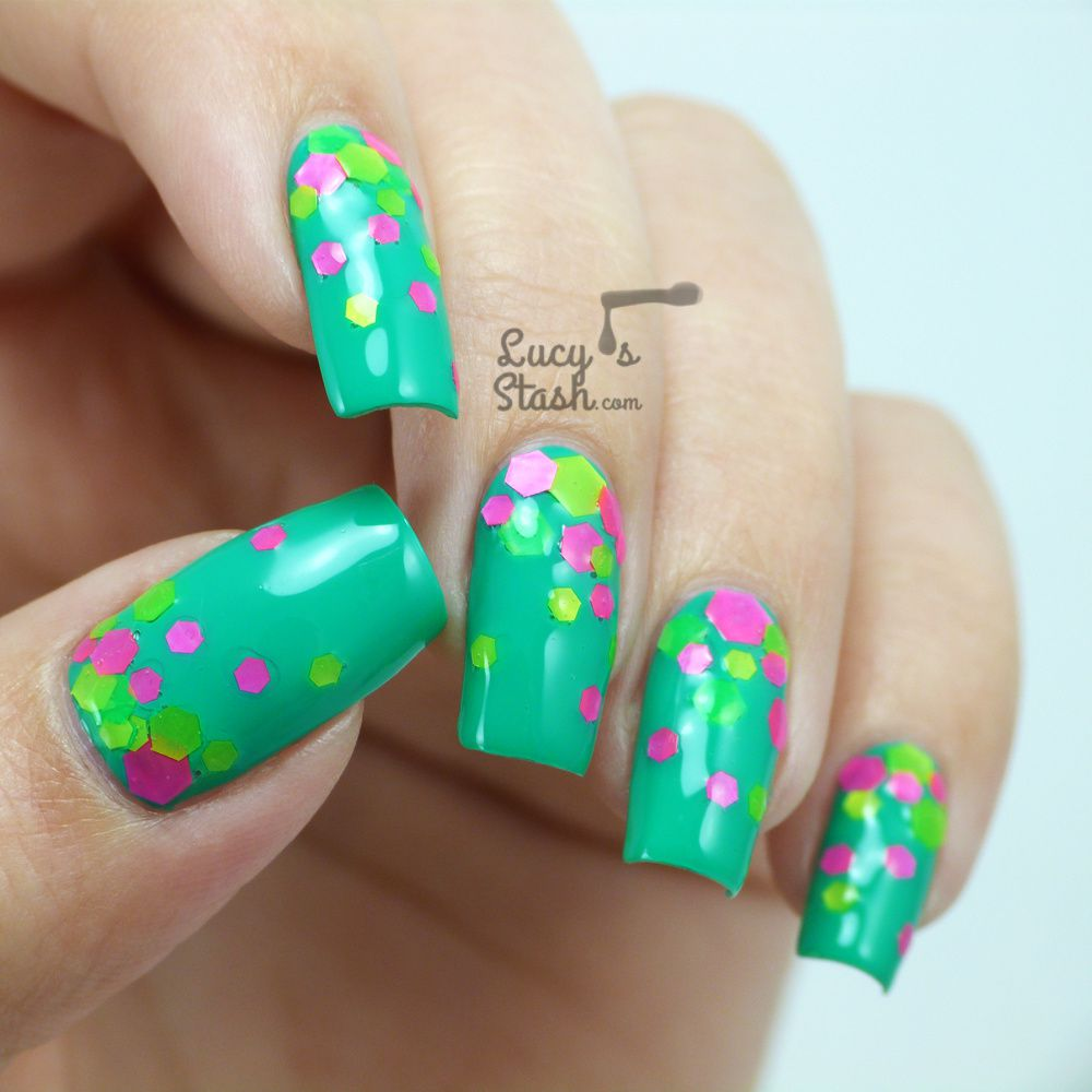 Neon Glitter Gradient with Starrily and Barry M