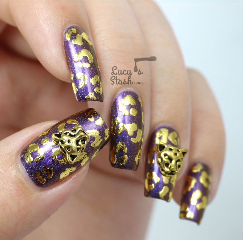 Gold Leopard Nails: Playing around with nail foil & nail charms ...