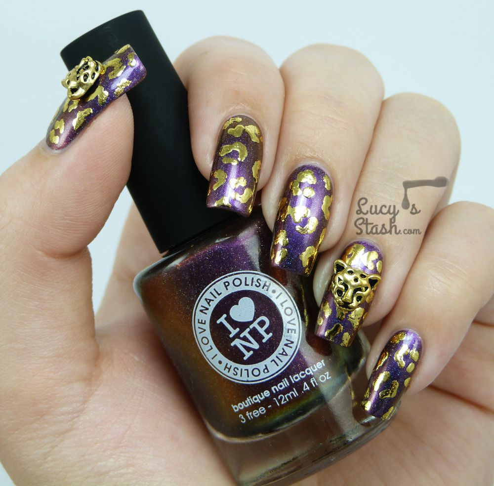 Gold Leopard Nails: Playing around with nail foil &amp&#x3B; nail charms