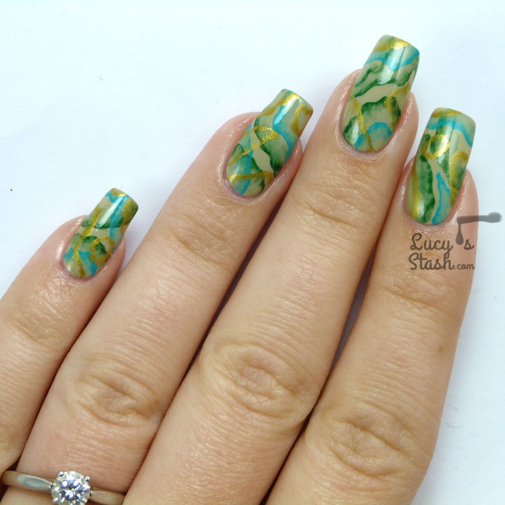 Precious Stone Abstract Nail Art feat. Barry M Olive