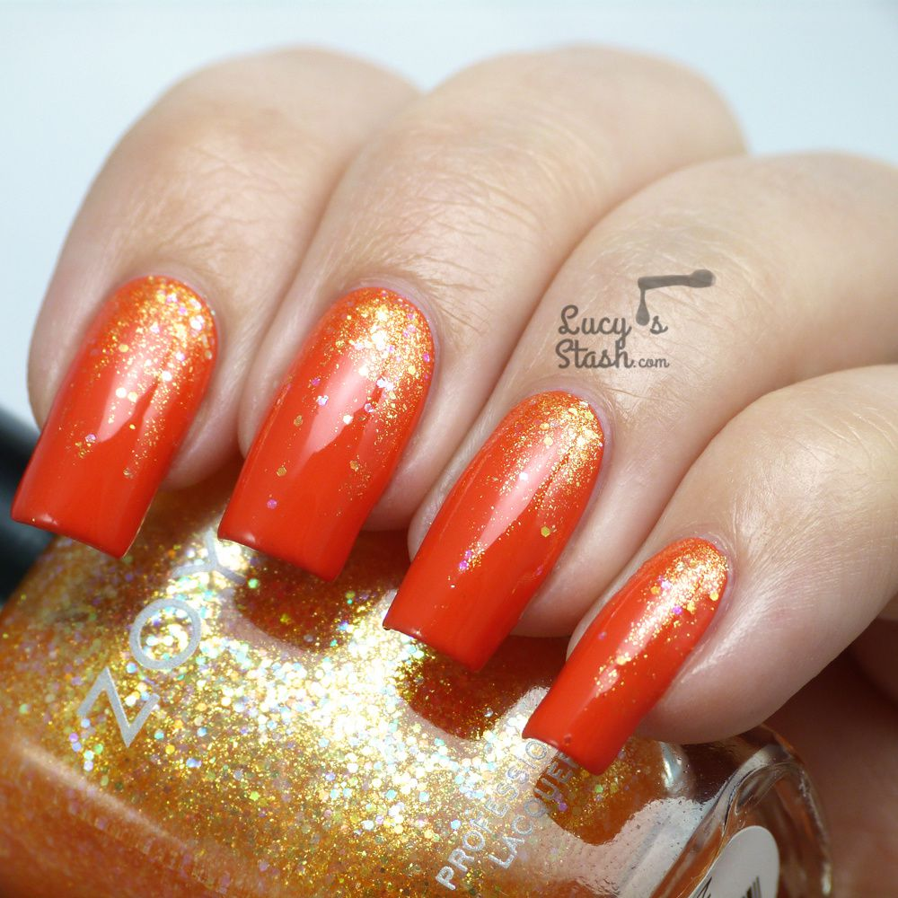 Juicy Glitter Gradient with Zoya Tickled &amp&#x3B; Bubbly