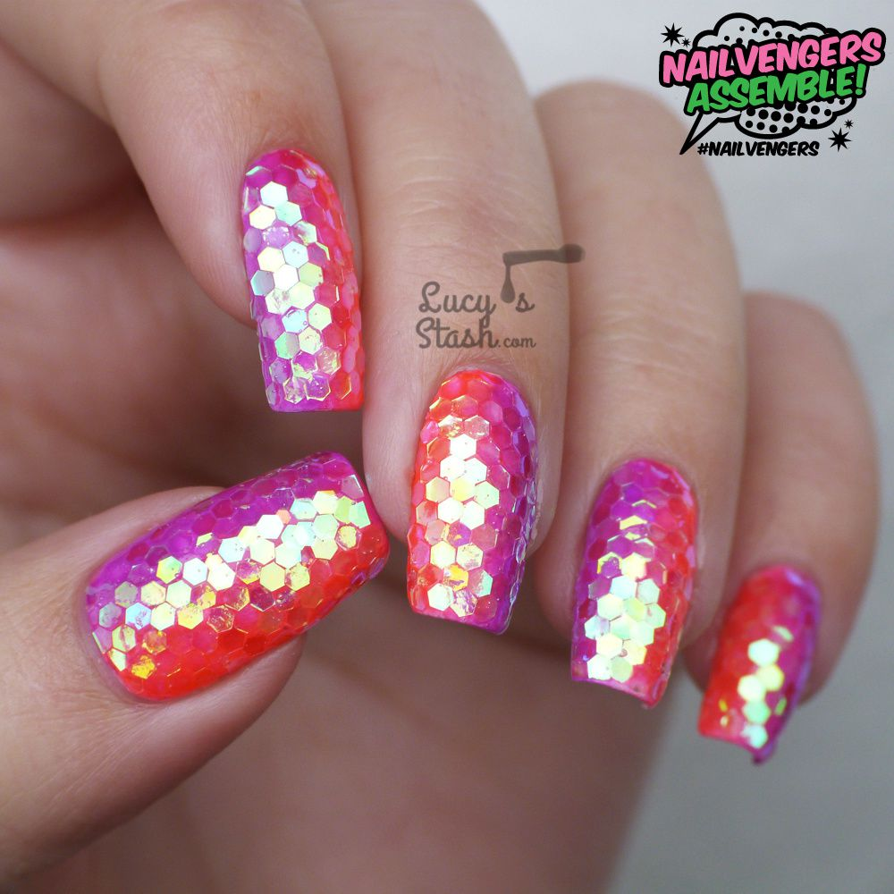 Glitter Placement Nail Art - Nailvengers Assemble! - Glitter Placement Nail Art - Lucy's Stash