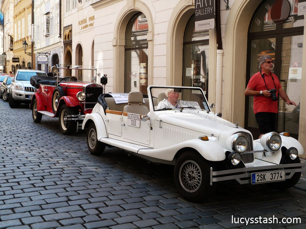 You can take a ride through Prague in these old cars or in a horse & carriage but it will cost you dearly...
