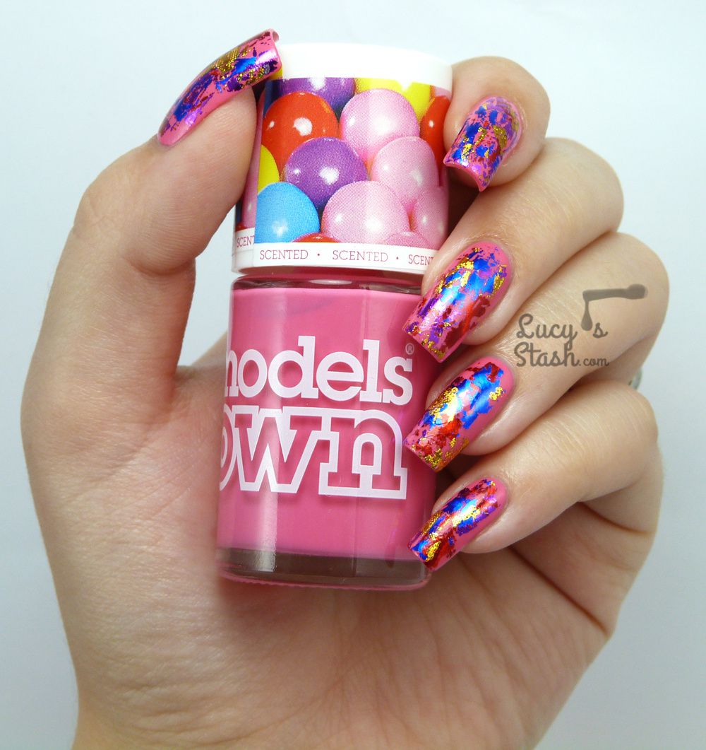 Foiled Nails with Models Own Gumballs - Abstract Nail Art Design