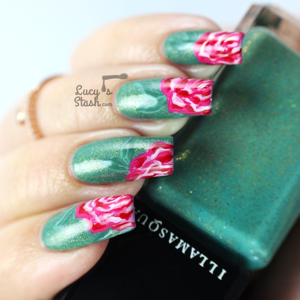 Vintage Roses over Illamasqua Melange - Nail Art Design