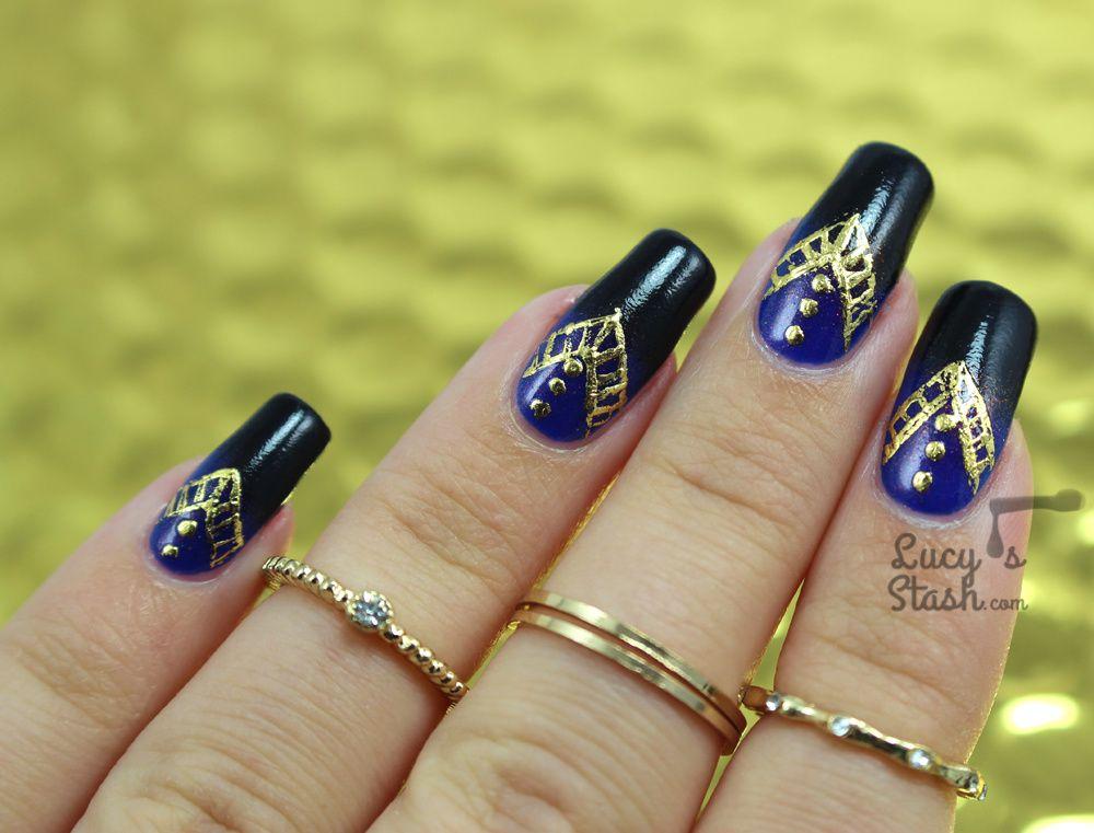 Gold Foil Aztec Print Nail Art Design - Lucy\'s Stash