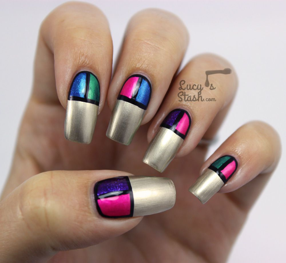 Colour Block Nail Art with Models Own Disco Pants Collection