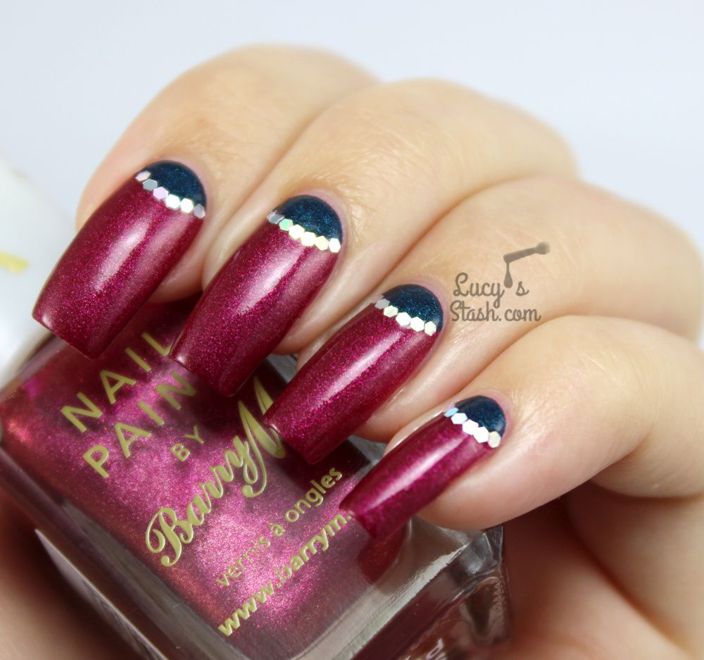 glittered half moon nail art with barry m silk collection
