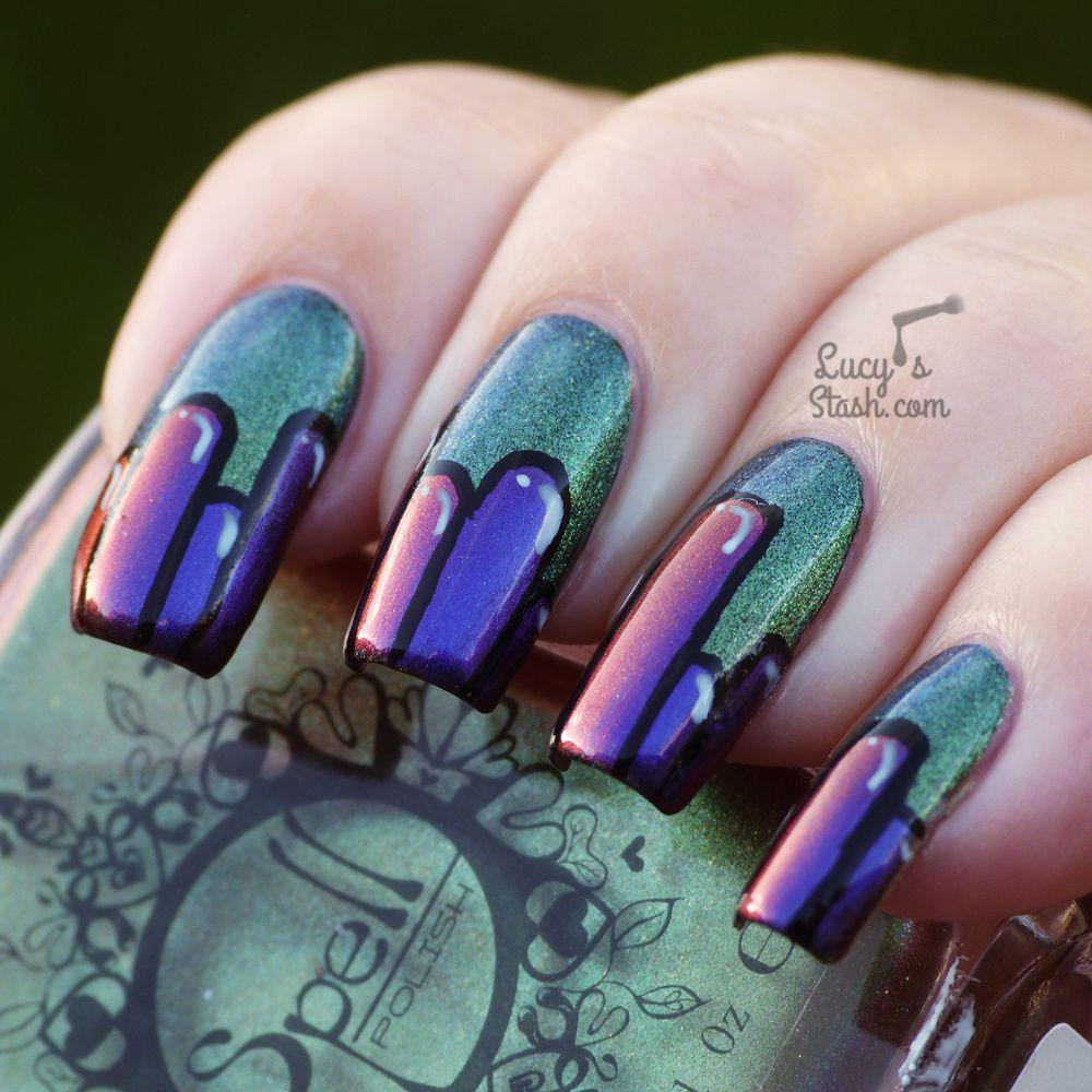 Cartoon Colour Block Nails with Spell Polish