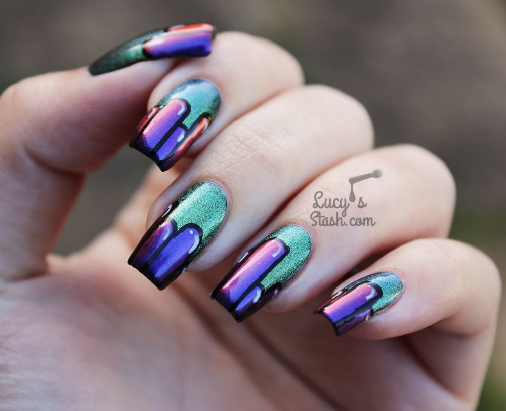 Cartoon Colour Block Nails with Spell Polish