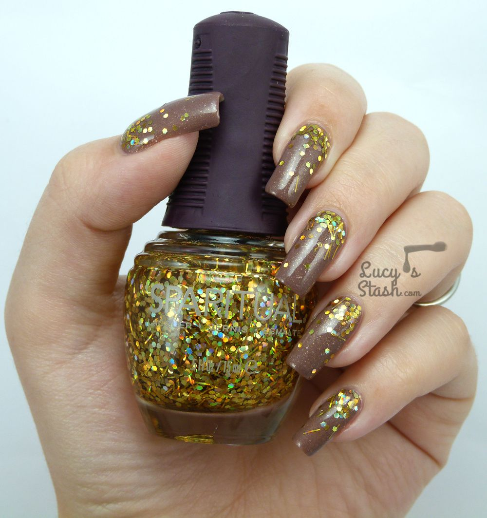 Gold Chunky Glitter Gradient Nails