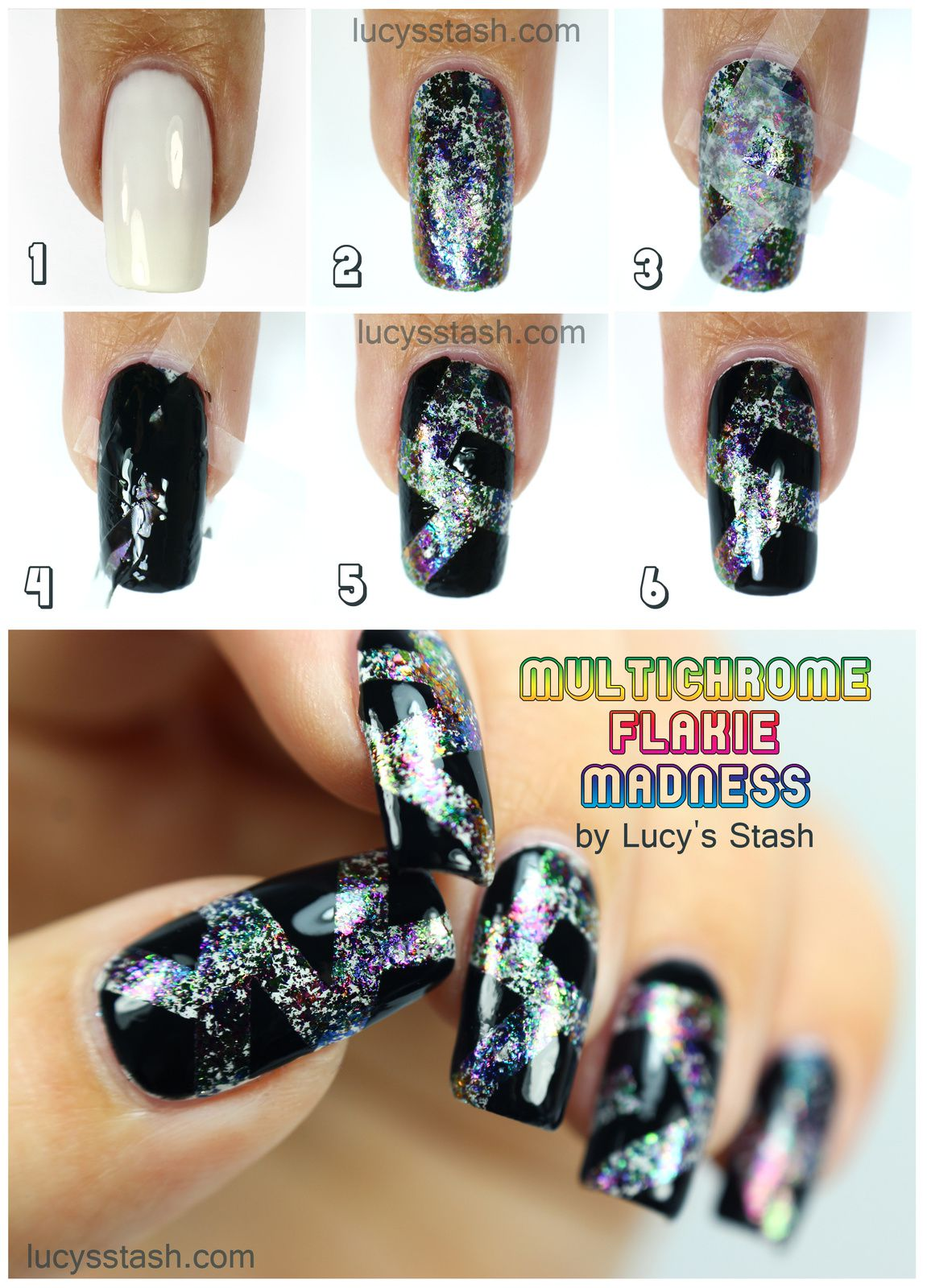 Multichrome Flakie Madness Nails with TUTORIAL