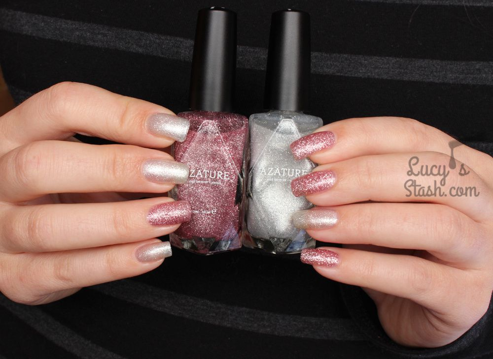 Azature Pink and White Diamond Polishes - Review &amp&#x3B; Swatches