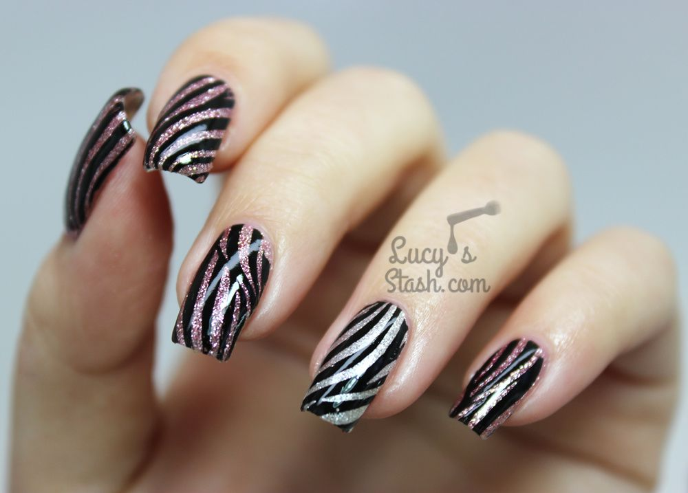 Glitter Zebra Nails feat. Pueen Fireworks Festival Stamping Plate