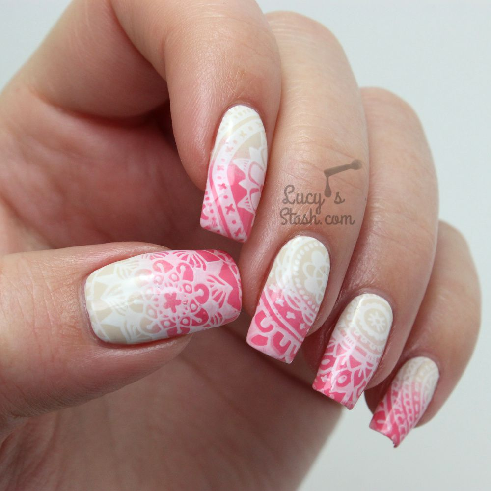 Doodle Stamped Gradient Nail Art ♥