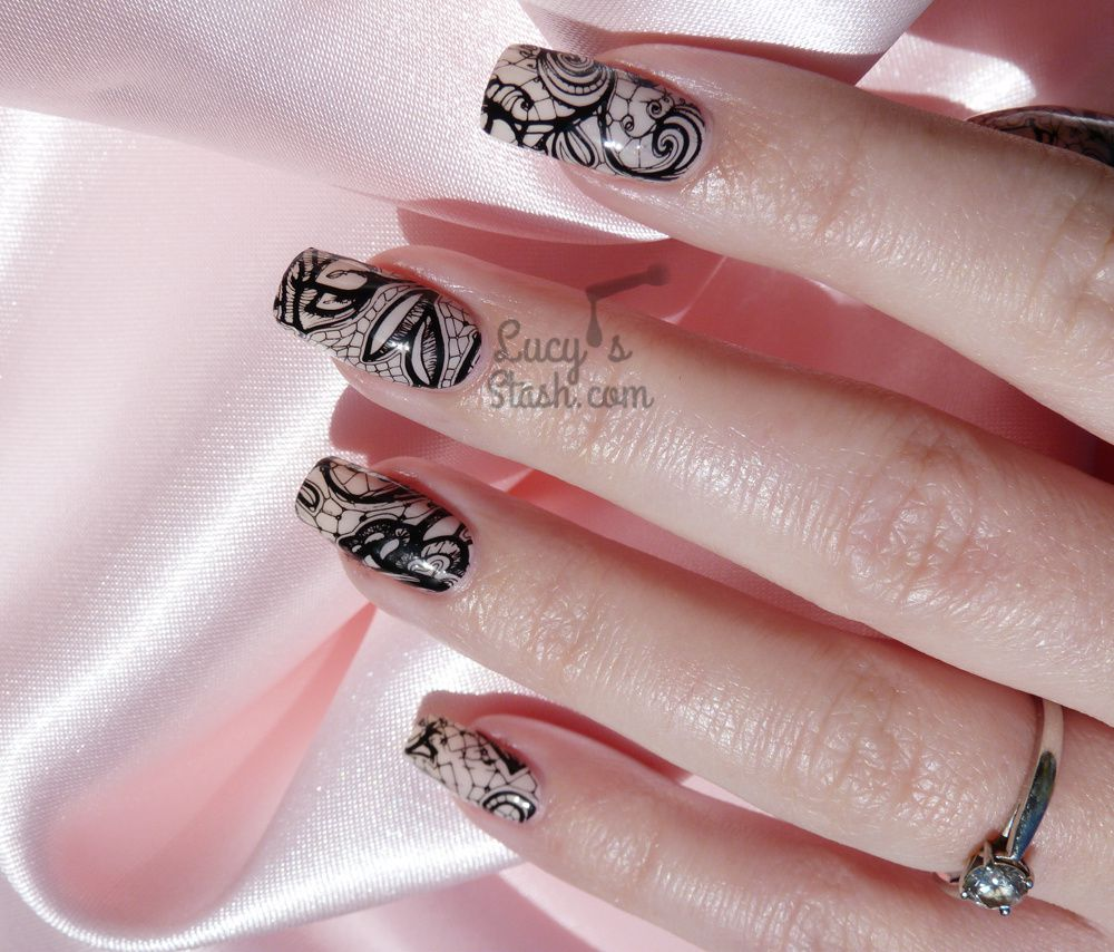 Racy Lacy Nails | Black Stamped Lace Nail Art &amp&#x3B; Barry M Do It Like A Nude Review